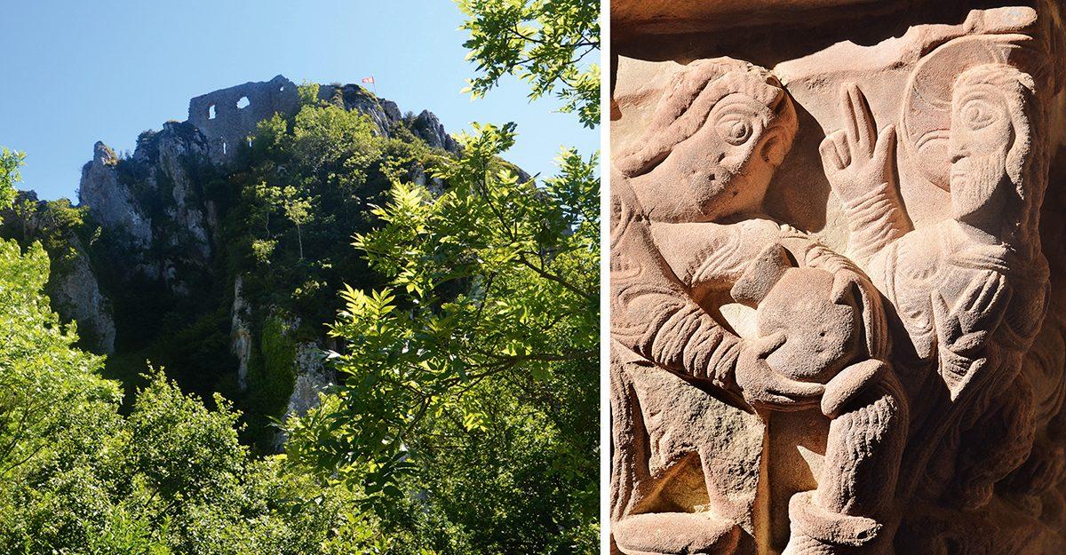 Burgruine von Roquefixade und romatische Kunst im Kloster San Juan de la Pena