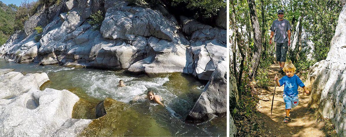 Baden und Wandern an Ardèche und Chassezac