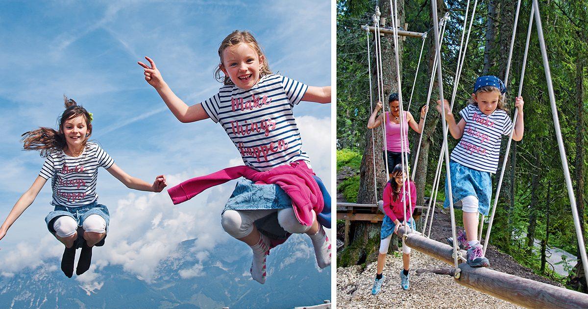Trampolin und Niederseilgarten – Bergspielplätze im tiroler Unterland